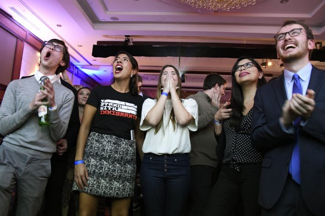 Democratic volunteers react to early returns Tuesday night at a watch party in Washington, D.C. Photo by Mike Theiler/UPI