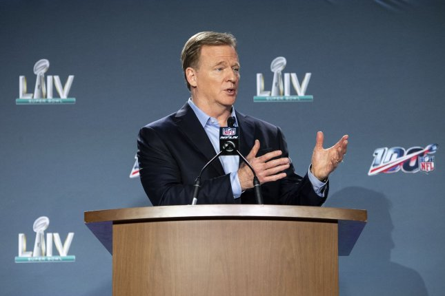 In a memo Wednesday, NFL commissioner Roger Goodell said teams should have the protocols in place by May 15. File Photo by Kevin Dietsch/UPI