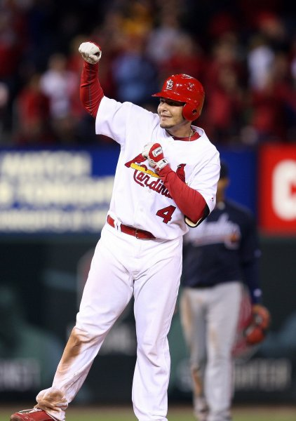 St. Louis Cardinals Yadier Molina pumps his fist following hitting a RBI double against the Atlanta Braves in the eighth inning, scoring the go-ahead run at Busch Stadium in St. Louis on April 26, 2010. St. Louis won the game 4-3. UPI/Bill Greenblatt
