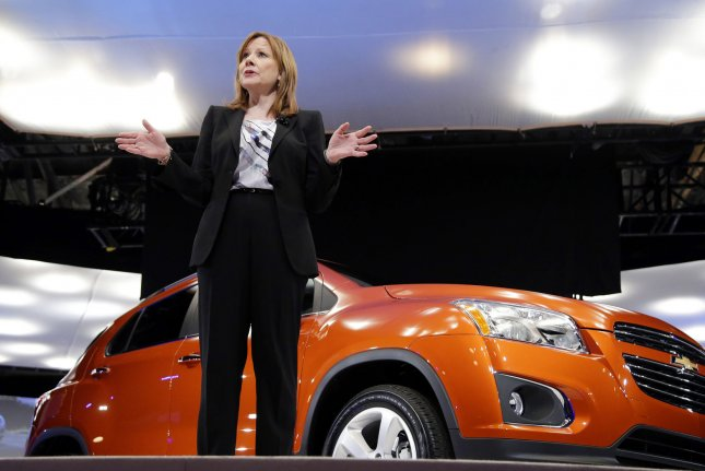 General Motors GM Company CEO Mary Barra speaks at a Chevrolet press event as part of the New York International Auto Show in New York City on April 15, 2014. Barra is the first female CEO of a major global automaker. UPI/John Angelillo