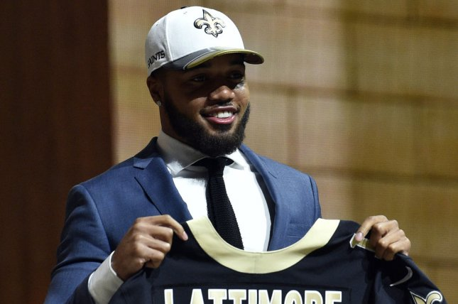 Marshon Lattimore poses for photographs after being selected by the New Orleans Saints as the 11th overall pick in the 2017 NFL Draft at the NFL Draft Theater in Philadelphia, PA on April 27, 2017. File photo by Derik Hamilton/UPI