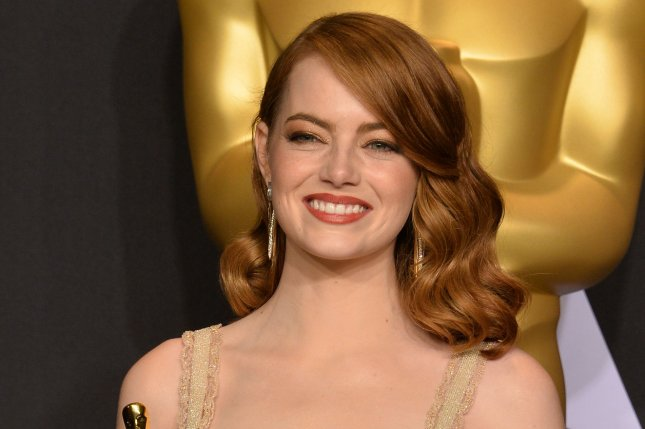 Emma Stone appears backstage with her Oscar during the 89th annual Academy Awards on February 26. Stone has been named the highest paid actress for 2017 by Forbes. Jennifer Aniston and Jennifer Lawrence also made the list. File Photo by Jim Ruymen/UPI