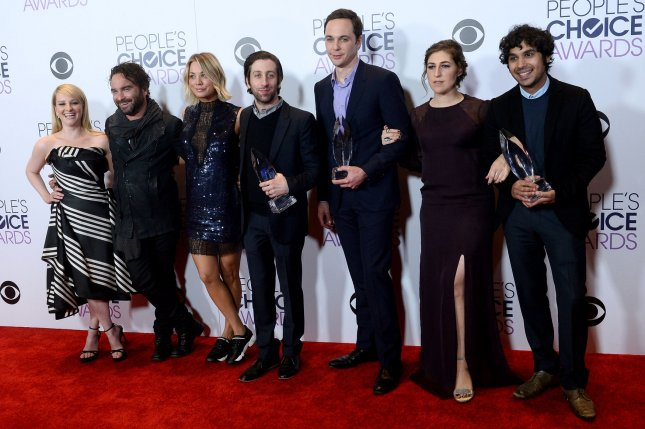 The stars of The Big Bang Theory, left to right, Melissa Rauch, Johnny Galecki, Kaley Cuoco, Simon Helberg, Jim Parsons, Mayim Bialik and Kunal Nayyar. The cast appeared on The Late Show following the series finale. File Photo by Jim Ruymen/UPI
