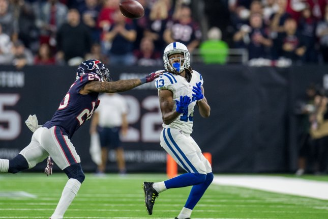 Indianapolis Colts wide receiver T.Y. Hilton (R) has 195 yards and four touchdowns in three games this season. File Photo by Trask Smith/UPI