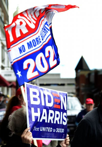 Supporters of President Donald Trump and former Vice President and Democratic nominee Joe Biden display their signs supporting their candidates of choice outside the Greensburg Depot site of a stop on Biden's train tour through Ohio and Pennsylvania on Wednesday. Election spending has already hit a record for 2020. Photo by Archie Carpenter/UPI
