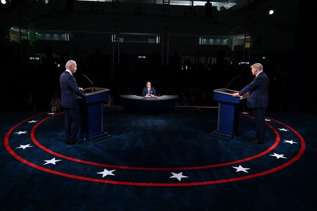 President Donald Trump (R) and Democratic presidential nominee Joe Biden exchange points during the first presidential debate in Cleveland, Ohio, on September 29. Photo by Oliver Doulier/UPI/Pool