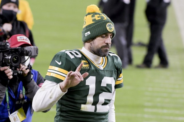 Green Bay Packers quarterback Aaron Rodgers skipped the start of this week's organized team activities amid a rift with the franchise. File Photo by Mark Black/UPI
