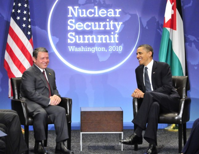 United States President Barack Obama holds bilateral meeting with King Abdullah II of Jordan on the sidelines of the Nuclear Security Summit at the Washington Convention Center, Monday, April 12, 2010 in Washington, DC. UPI/Ron Sachs/POOL