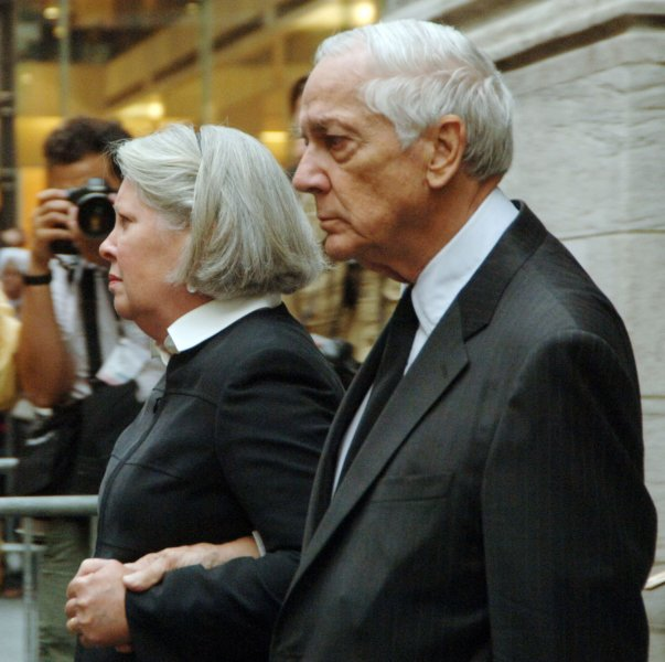 Anthony Marshall (R) and his wife Charlene leave funeral services at Saint Thomas Church in New York for his mother socialite Brooke Astor on August 17, 2007. Astor died at the age of 105. (UPI Photo/Ezio Petersen)