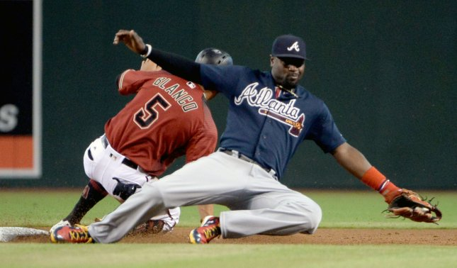 Standout second baseman Brandon Phillips was traded from the Atlanta Braves to the Los Angeles Angels. Photo by Art Foxall/UPI