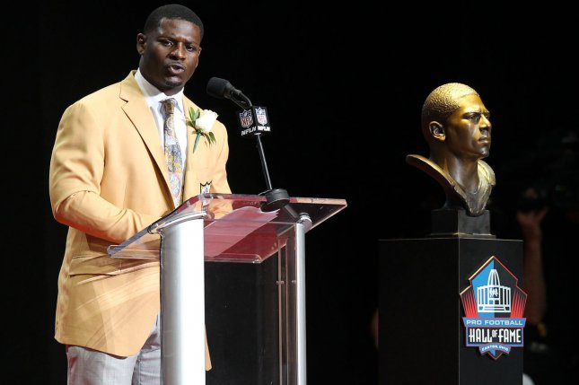 LaDainian Tomlinson speaks during his enshrinement into the Pro Football Hall of Fame on August 5 at Tom Benson Hall of Fame Stadium in Canton, Ohio. Photo by Aaron Josefczyk/UPI