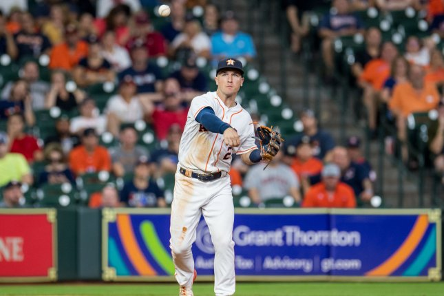 Alex Bregman of the Houston Astros throws to first to record an out against the Seattle Mariners in the 7th inning on September 19 at Minute Maid Park in Houston. Photo by Trask Smith/UPI