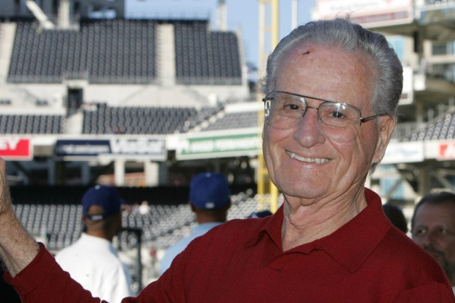 San Diego Padres Hall of Fame announcer Jerry Coleman waits for the game to start between the Los Angeles Dodgers and the Padres at Petco Park in San Diego on June 13, 2006. He died January 5, 2014. File Photo by Roger Williams/UPI