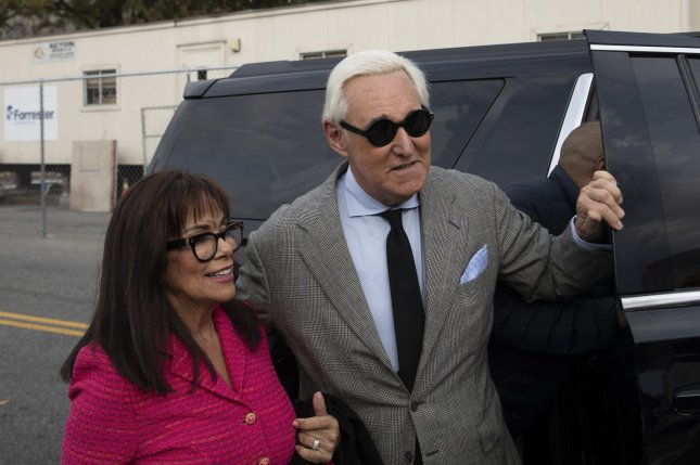 Roger Stone, former adviser to President Donald Trump, arrives with his wife for trial on November 7 at the E. Barrett Prettyman U.S. Courthouse in Washington, D.C. Photo by Tasos Katopodis/UPI
