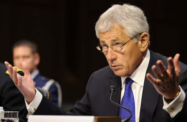 Secretary of Defense Chuck Hagel makes remarks before the Senate Armed Services Committee, on the situation in Syria, on Capitol Hill, April 17, 2013, in Washington, DC. UPI/Mike Theiler .