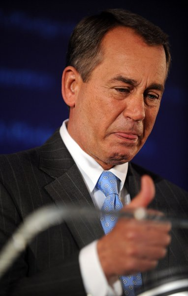 Taxpayer groups are urging future speaker John Boehner, R-Ohio, to lead by example and cut House salaries as a symbolic gesture of cutting spending. UPI/Roger L. Wollenberg