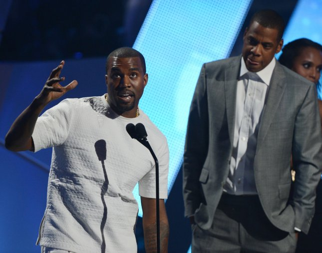 Recording artists Kanye West (L) and Jay-Z accept the Video of the Year award during BET Awards 12, at the Shrine Auditorium in Los Angeles on July 1, 2012. UPI/Jim Ruymen