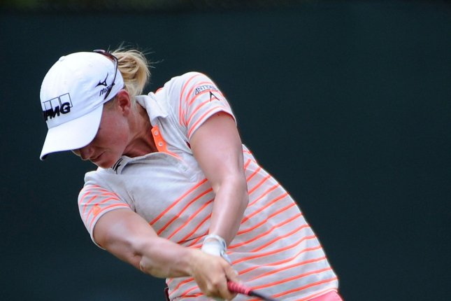 Stacy Lewis, who is ranked No. 1, drives hole three where she scored a birdie during Round Two of the Women's U.S. Open at Pinehurst No. 2, in Pinehurst, North Carolina, on June 20, 2014. UPI/David Tulis