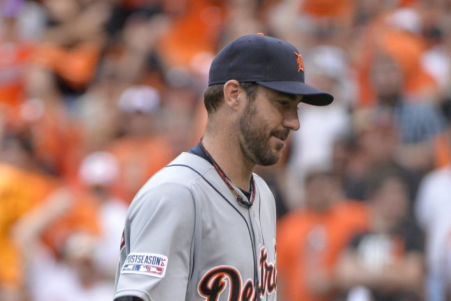 Detroit Tigers starting pitcher Justin Verlander. UPI/Kevin Dietsch