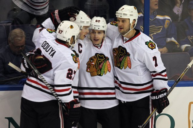Patrick Kane had a goal and an assist to help lead the Chicago Blackhawks to a 5-1 win over the Buffalo Sabres. File Photo by Bill Greenblatt/UPI