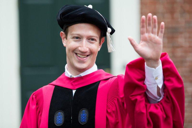 Mark Zuckerberg attends Harvard University's 366th Commencement Day ceremony on Thursday. Photo by Matthew Healey/UPI