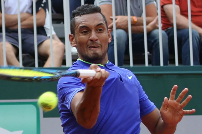 Australian Nick Kyrgios hits a shot during his French Open men's first round match against Philipp Kohlschreiber of Germany at Roland Garros in Paris on May 30, 2017. Kyrgios defeated Kohlschreiber 6-3, 7-6 (4), 6-3 to advance to the second round. Photo by David Silpa/UPI