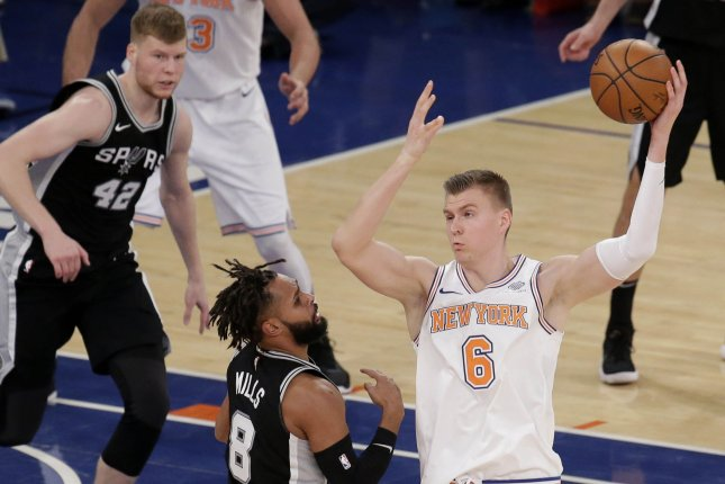 The New York Knicks traded Kristaps Porzingis (R) to the Dallas Mavericks in January. File Photo by John Angelillo/UPI