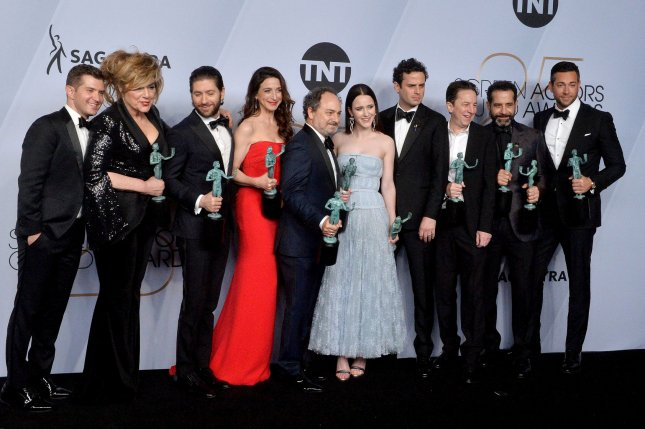 Marvelous Mrs. Maisel stars Joel Johnstone, Caroline Aaron, Michael Zegen, Marin Hinkle, Kevin Pollak, Rachel Brosnahan, Luke Kirby, Brian Tarantina, Tony Shalhoub and Zachary Levi appear backstage at the SAG Awards in Los Angeles on January 27. File Photo by Jim Ruymen/UPI