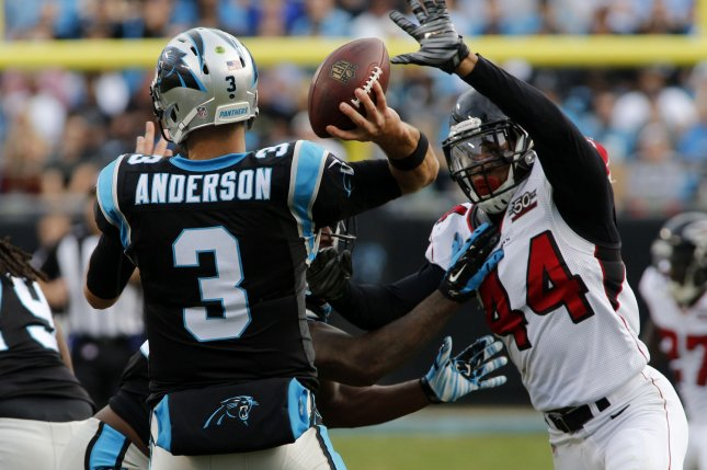 Former Atlanta Falcons defensive end Vic Beasley Jr. (44) led the league in sacks during the 2016 season. File Photo by Nell Redmond/UPI