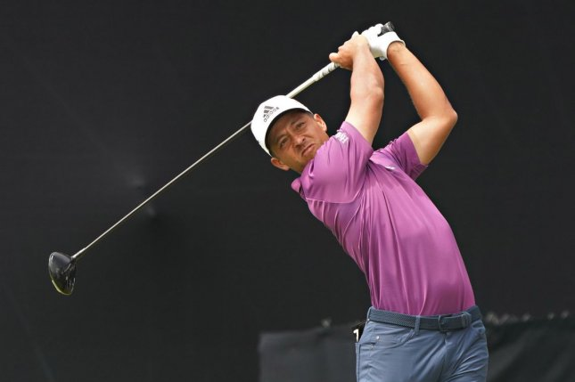 Team USA's Xander Schauffele led the 2020 Summer Games golf tournament through two rounds after he shot an 8-under par 63 on Friday at Kasumigaseki Golf Club. File Photo by Richard Ellis/UPI