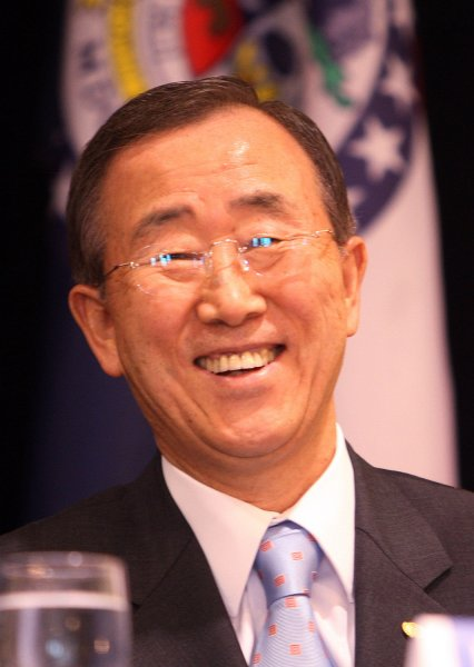 Ban, Ki-moon, Secretary-General of the United Nations, laughs before delivering a guest lecture speech on Solving the World's Food and Hunger Problems, at Saint Louis University in St. Louis on June 12, 2009. (UPI Photo/Bill Greenblatt)