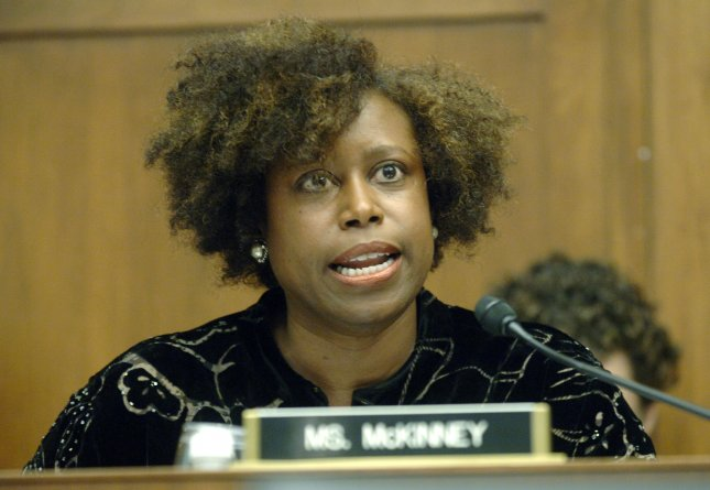 Rep. Cynthia McKinney (D-GA) speaks at a House Select Committee on Katrina news briefing about the release of the committee's final report on the Hurricane, in Washington on February, 15 2006. (UPI Photo/Kevin Dietsch)