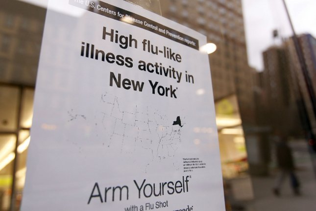 The flu has reached epidemic levels in 43 states, according to the CDC. File Photo by UPI/John Angelillo.