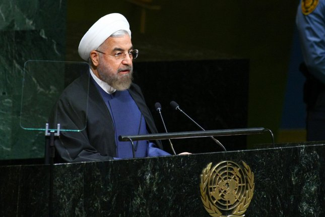 Hassan Rouhani, president of Iran, addresses the 69th session of the United Nations General Assembly held at the U.N. in New York City on Sept. 25, 2014. World leaders are attending the week-long meeting to discuss crises such as the Ebola outbreak, Islamic State extremists and climate change. On Wednesday, Italian Prime Minister Matteo Renzi officially invited Iranian President Hassan Rouhani for a visit to Rome. File Photo by UPI /Monika Graff.