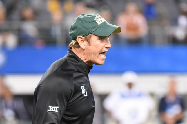 Former Baylor Bear's head coach Art Briles yells to his team as they face the Michaigan State Spartans in the Goodyear Cotton Bowl Classic in AT&T Stadium, Arlington, Texas on January 1, 2015. Ian Halperin/UPI