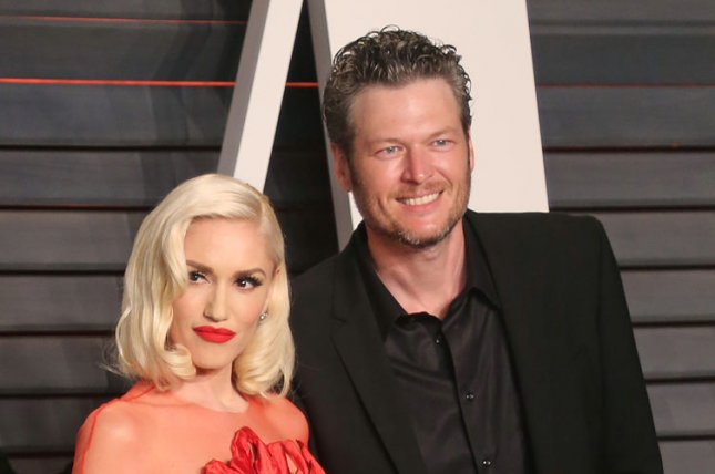 Blake Shelton (R) and Gwen Stefani at the Vanity Fair Oscar party on February 28. File Photo by David Silpa/UPI