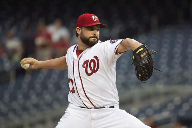 Washington Nationals starting pitcher Tanner Roark (57) pitches against the Miami Marlins in the third inning at Nationals Park in Washington, D.C. on August 10, 2017. File photo by Kevin Dietsch/UPI