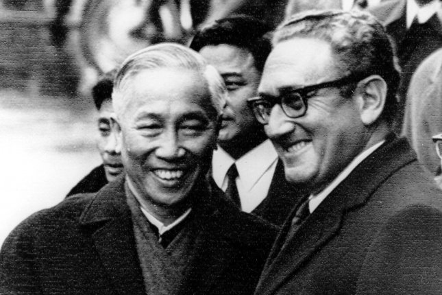 National security adviser Henry Kissinger (R) and Hanoi's Lo Duc Tho shake hands following their January 23, 1973, meeting at the International Conference Center in Paris. On May 3, 1968, the United States and North Vietnam agreed to hold peace talks in Paris. UPI File Photo