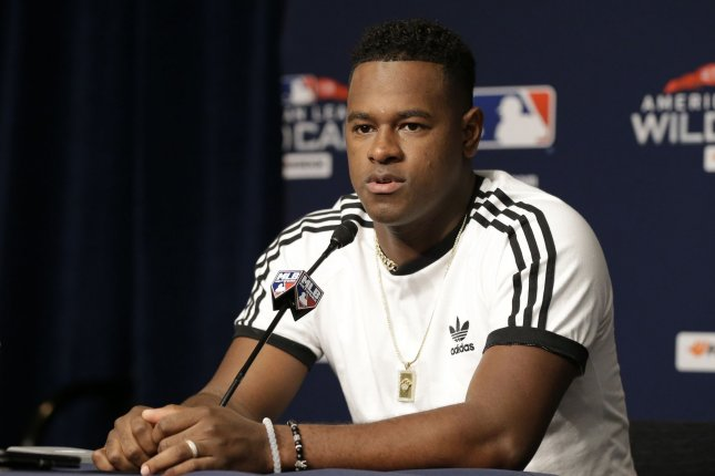 New York Yankees starting pitcher Luis Severino speaks at a press conference one day before they play the Oakland Athletics in the MLB American League wild card game on Tuesday at Yankee Stadium in New York City. Photo by John Angelillo/UPI