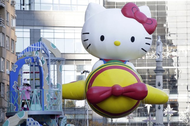 The Hello Kitty balloon moves down the parade route at the 91st Macy's Thanksgiving Day Parade in New York City on November 23, 2017. New Line Cinema is working on the first major movie about the character. File Photo by John Angelillo/UPI