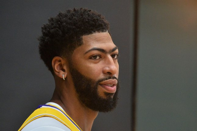 Los Angeles Lakers big man Anthony Davis sustained a thumb injury during the Lakers' preseason game against the Brooklyn Nets on Saturday and didn't return to the contest. File Photo by Jim Ruymen/UPI
