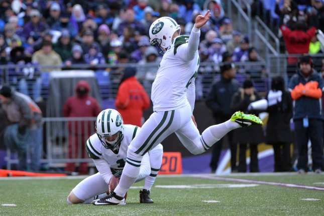 Former New York Jets kicker Nick Folk (R) last kicked in the NFL with the Tampa Bay Buccaneers in 2017. File Photo by Kevin Dietsch/UPI