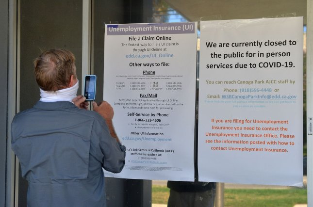 Mark Gilmore, an unemployed water treatment plant electrician came seeking information about his unemployment claim but found the California Employment Development Department office in Canoga Park, Calif., closed on August 6, 2020. Photo by Jim Ruymen/UPI