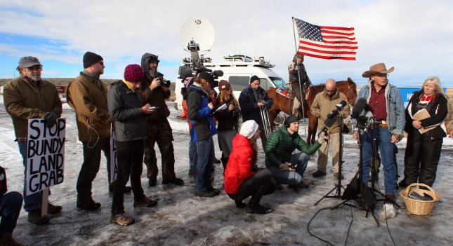 Activist LaVoy Finicum speaks during a press conference at the Malheur National Wildlife Reserve on January 16 in Burns, Ore. Ammon Bundy and about 20 other protesters took over the refuge on Jan. 2, and negotiations with the FBI began Thursday. Photo by Jim Bryant/UPI