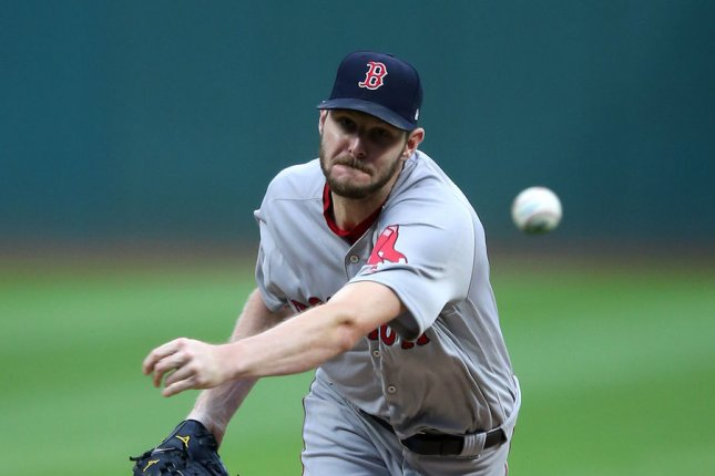 Boston Red Sox Chris Sale pitches during the first inning against the Cleveland Indians at Progressive Field in Cleveland, Ohio on August 24, 2017. File photo by Aaron Josefczyk/UPI