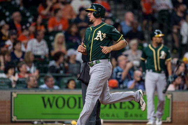 Oakland Athletics outfielder Stephen Piscotty hit his ninth home run of the year Tuesday night. File Photo by Trask Smith/UPI