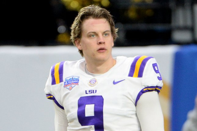 Louisiana State University Tigers quarterback Joe Burrow can add the Heisman Trophy to his trophy case if he edges out three other finalists for the award Saturday in New York City. Photo by Art Foxall/UPI