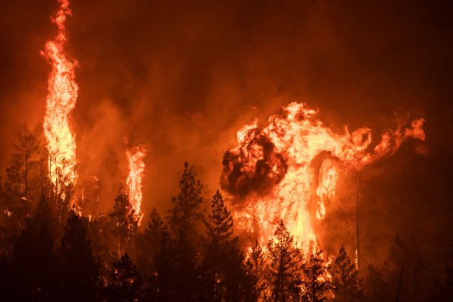 The Glass fire in Napa County, California, erupted early Sunday, threatening thousands of homes. Photo by Terry Schmitt/UPI