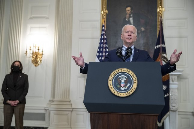 President Joe Biden, with Vice President Kamala Harris, delivers remarks on the Senate passage of the $1.9 trillion coronavirus relief bill from the State Dining Room of the White House in Washington, DC, on Saturday. Photo by Shawn Thew/UPI