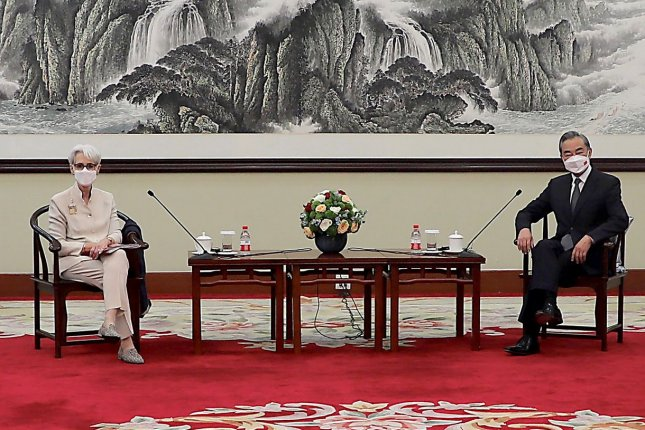 U.S. Deputy Secretary of State Wendy Sherman (L) meets with Chinese Foreign Minister Wang Yi in Tianjin on Monday. Photo by U.S. State Department/UPI